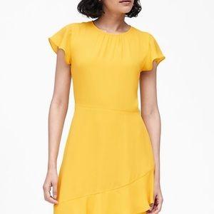 NWT Banana Republic Flutter Sleeve Yellow Dress